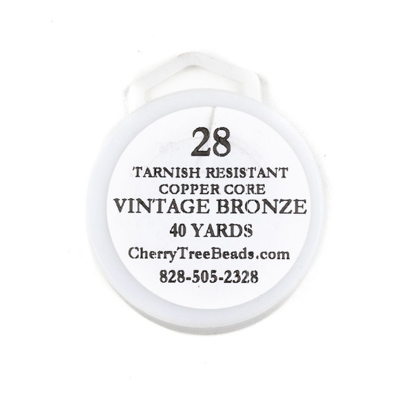 28 Gauge Coated Tarnish Resistant Vintage Bronze Plated Copper Wire on a 40-Yard Spool