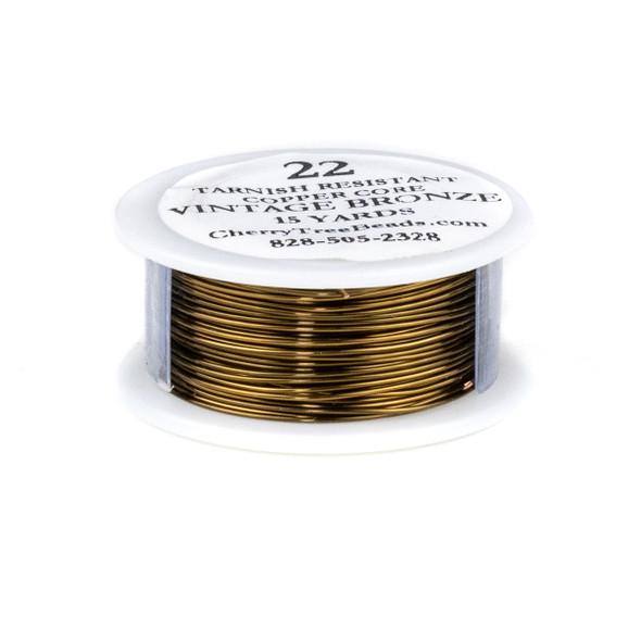 22 Gauge Coated Tarnish Resistant Vintage Bronze Coated Copper Wire on 15-Yard Spool