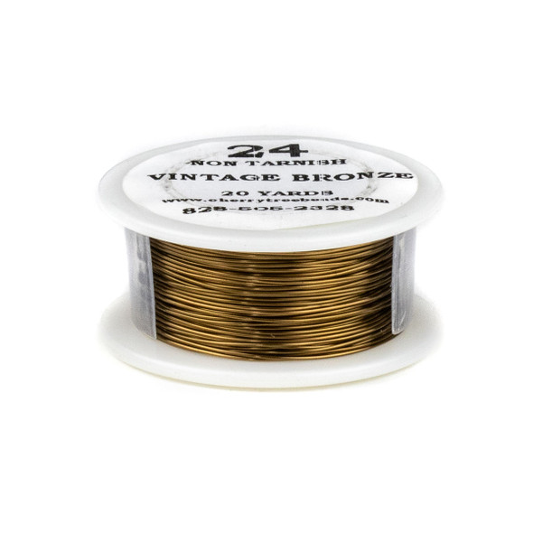 24 Gauge Coated Non-Tarnish Vintage Bronze Plated Copper Wire on 20-Yard Spool