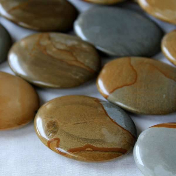 Wild Horse Picture Jasper 30x40mm Oval Beads - 16 inch strand