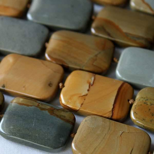 Wild Horse Picture Jasper 18x25mm Knotted Rectangle Beads - 16 inch strand