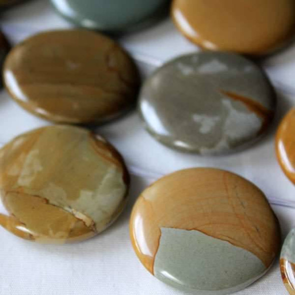 Wild Horse Picture Jasper 30mm Top Drilled Coin Beads - 16 inch strand