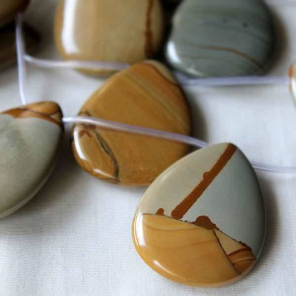 Wild Horse Picture Jasper 30x40mm Top Drilled Drop Beads - 16 inch strand
