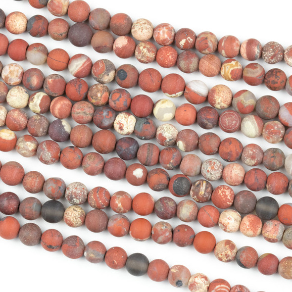 Matte White Lace Red Jasper 6mm Round Beads - 15 inch strand