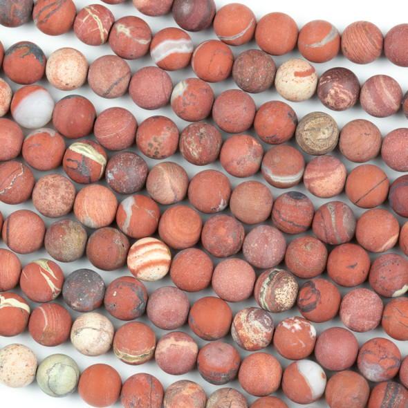 Matte White Lace Red Jasper 8mm Round Beads - 15 inch strand