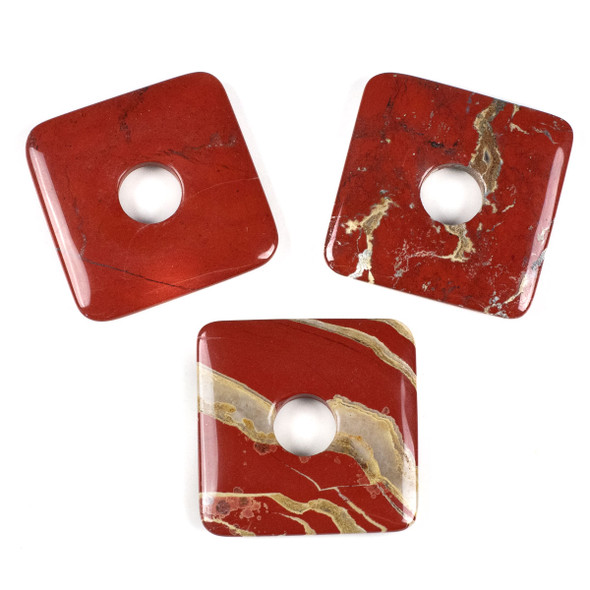 White Lace Red Jasper 50mm Square Donut Pendant - 1 per bag