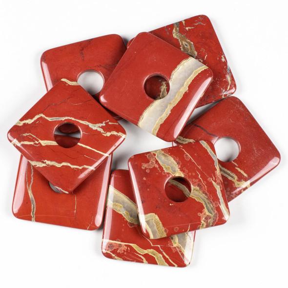White Lace Red Jasper 50mm Square Donut Pendant - 1 per bag