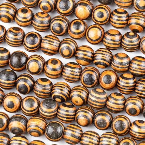 Printed Wood 10mm Striped Black and Brown Round Beads - 16 inch strand