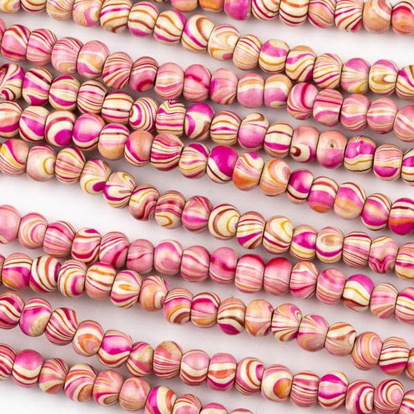 Printed Wood 6mm Swirled Pink and Cream Round Beads - 16 inch strand