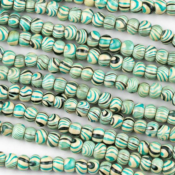 Printed Wood 6mm Swirled Turquoise and Cream Round Beads - 16 inch strand