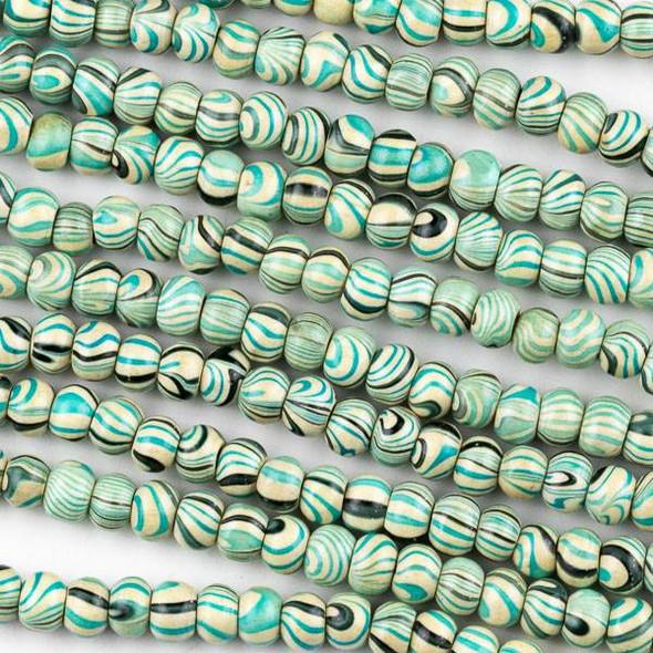 Printed Wood 6mm Swirled Turquoise and Cream Round Beads - 16 inch strand