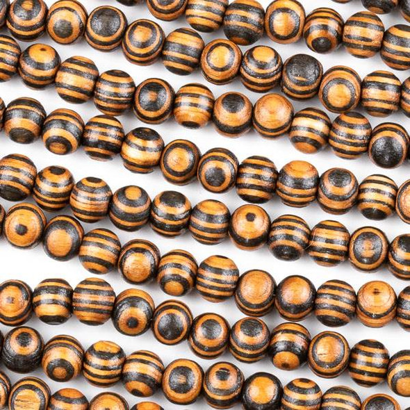 Printed Wood 8mm Striped Black and Brown Round Beads - 16 inch strand