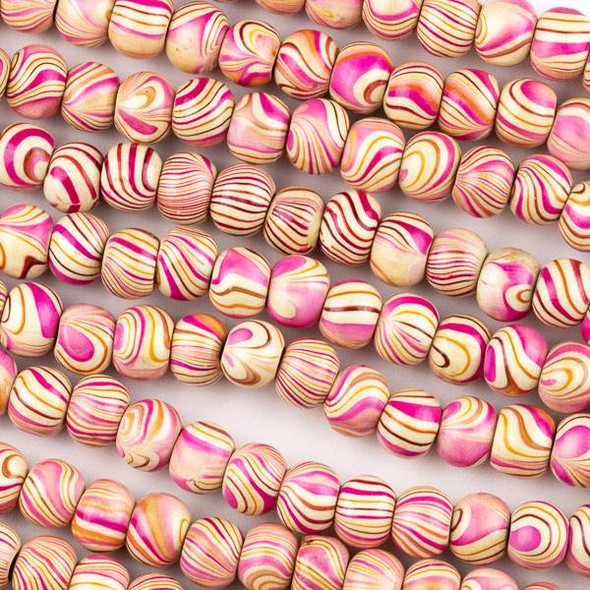 Printed Wood 8mm Swirled Pink and Cream Round Beads - 16 inch strand