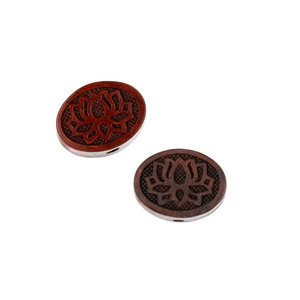 Carved Wood Focal Bead - 13x18mm Sandalwood Lotus Flower Oval, 1 per bag