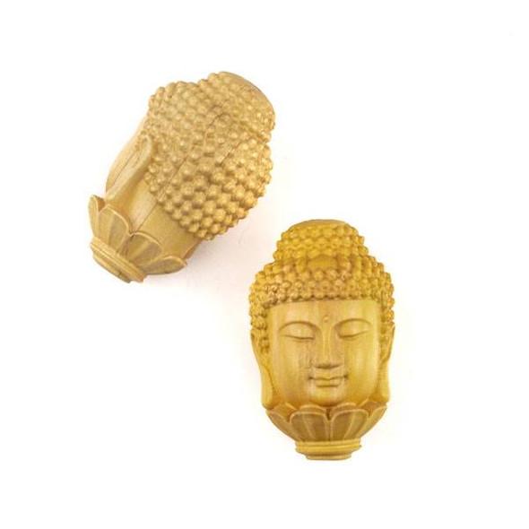 Carved Wood Focal Bead - 20x33mm Large Boxwood Lotus Buddha, 1 per bag