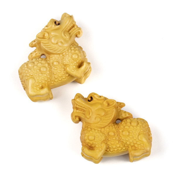 Carved Wood Focal Pendant - 15x31mm Boxwood Chinese Dragon, 1 per bag