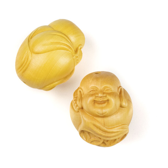Carved Wood Focal Bead - 25x31mm Boxwood Round Laughing Buddha with Sack, 1 per bag