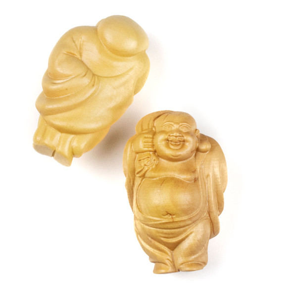 Carved Wood Focal Pendant - 24x40mm Boxwood Top Drilled Standing Laughing Buddha with Sack, 1 per bag