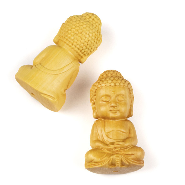 Carved Wood Focal Bead - 23x41mm Boxwood Meditating Buddha, 1 per bag