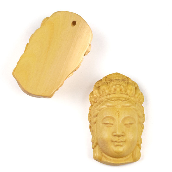 Carved Wood Focal Pendant - 22x38mm Boxwood Top Drilled Kuan Yin with Crown of Faces, 1 per bag