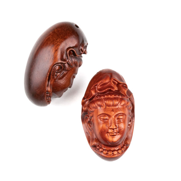 Carved Wood Focal Pendant - 21x35mm Sandalwood Top Drilled Kuan Yin Wearing Beads, 1 per bag