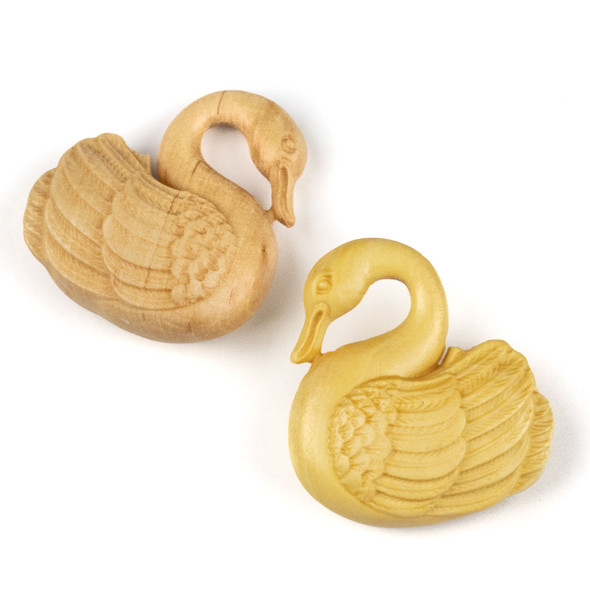 Carved Wood Focal Pendant -31x35mm Boxwood Swan, 1 per bag
