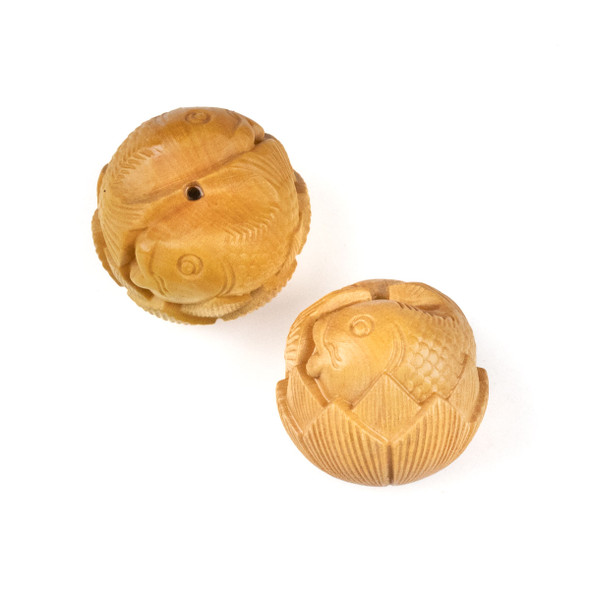 Carved Wood Focal Bead - 23x36mm Boxwood Koi Fish in a Lotus Flower, 1 per bag
