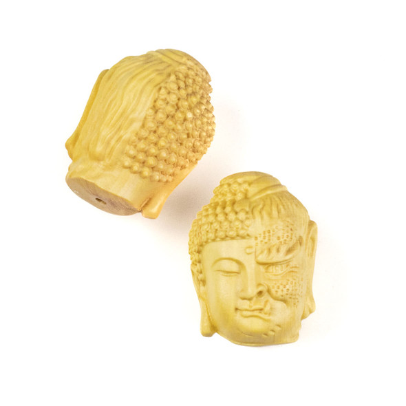 Carved Wood Focal Bead - 22x29mm Boxwood Half Buddha-Half Devil Head, 1 per bag