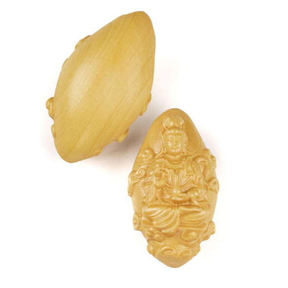 Carved Wood Focal Pendant - 22x39mm Boxwood Top Drilled Protection Kuan Yin, 1 per bag