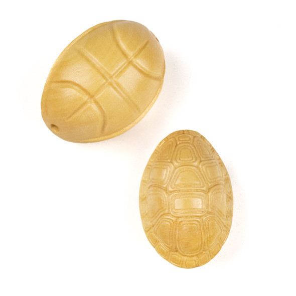 Carved Wood Focal Bead - 20x33mm Boxwood Turtle Shell, 1 per bag