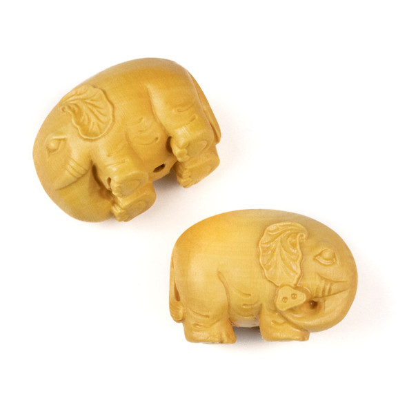 Carved Wood Focal Bead - 21x31mm Boxwood Elephant with Leaf Ears, 1 per bag