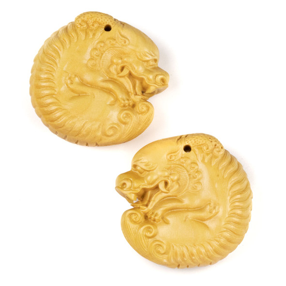 Carved Wood Focal Pendant - 32x32mm Boxwood Top Drilled Curled Dragon, 1 per bag