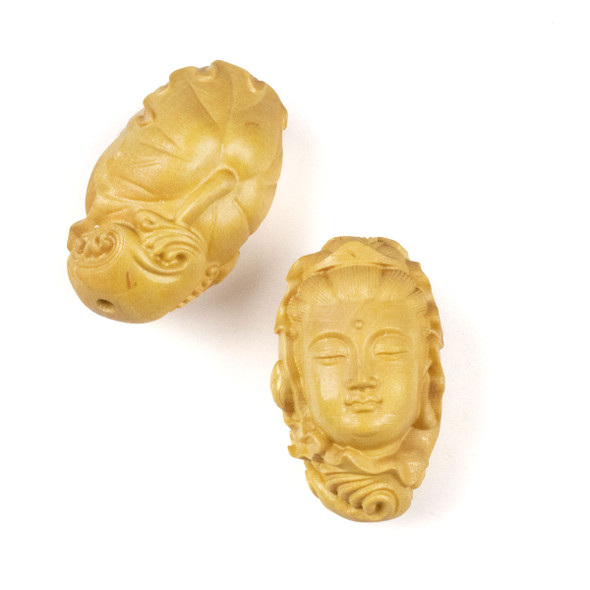 Carved Wood Focal Bead - 20x34mm Boxwood Kuan Yin with Leaves, 1 per bag