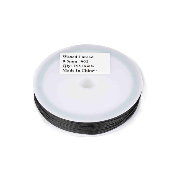 Waxed Polyester Cord - Black, .5mm, 25 yard spool