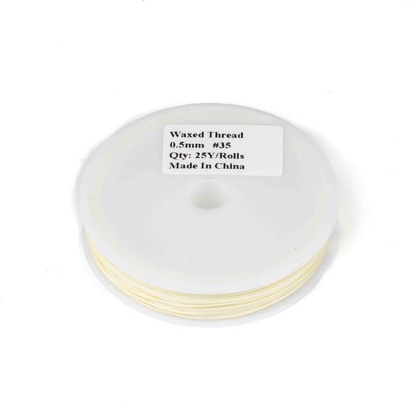 Waxed Polyester Cord - Cream, .5mm, 25 yard spool