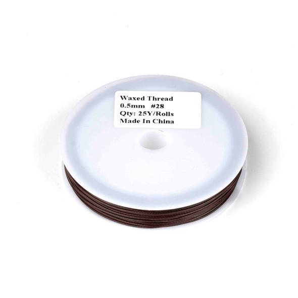 Waxed Polyester Cord - Dark Brown, .5mm, 25 yard spool