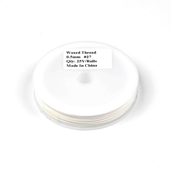 Waxed Polyester Cord - White, .5mm, 25 yard spool