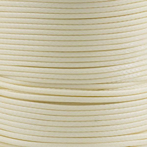 Waxed Polyester Cord - Cream, 1mm, 25 meter spool