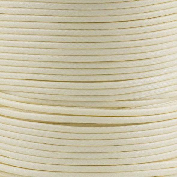 Waxed Polyester Cord - Cream, 1mm, 25 yard spool