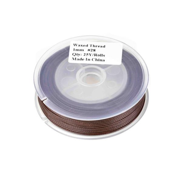 Waxed Polyester Cord - Dark Brown, 1mm, 25 yard spool