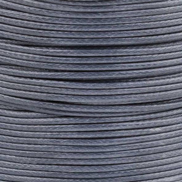 Waxed Polyester Cord - Grey, 1mm, 25 meter spool