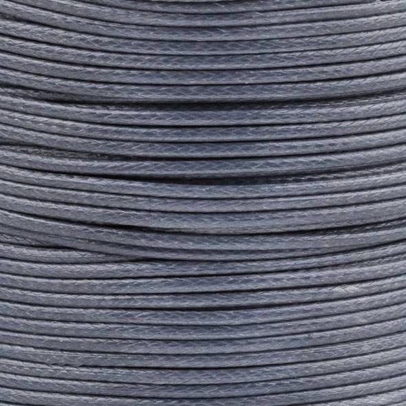 Waxed Polyester Cord - Grey, 1mm, 25 yard spool