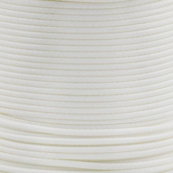 Waxed Polyester Cord - White, 1mm, 25 meter spool