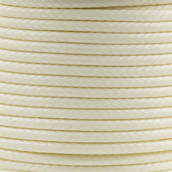 Waxed Polyester Cord - Cream, 2mm, 25 meter spool