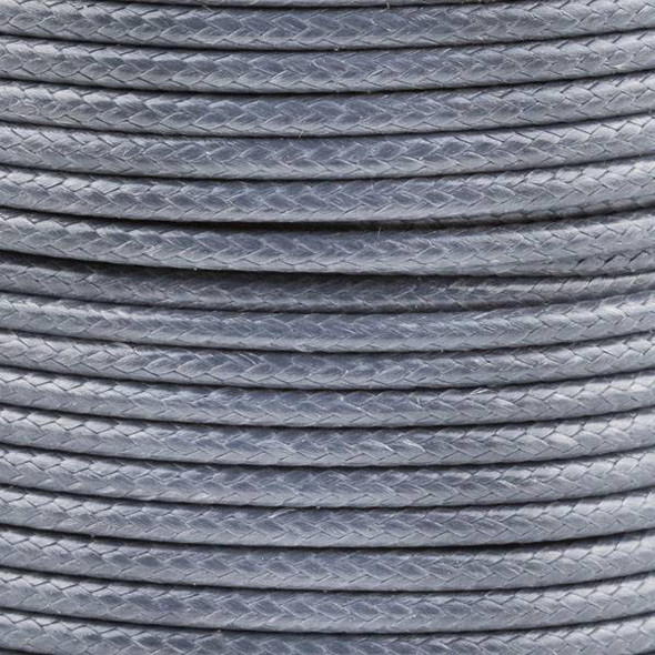 Waxed Polyester Cord - Grey, 2mm, 25 meter spool