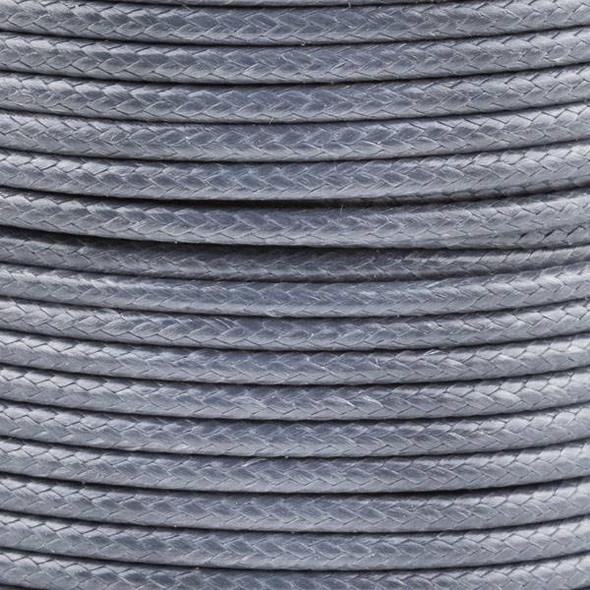 Waxed Polyester Cord - Grey, 2mm, 25 yard spool