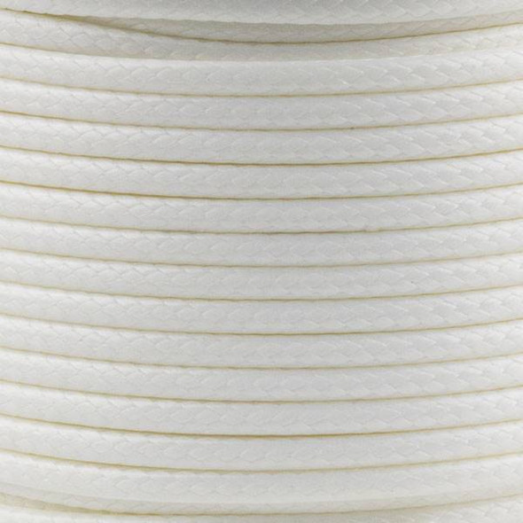 Waxed Polyester Cord - White, 2mm, 25 meter spool