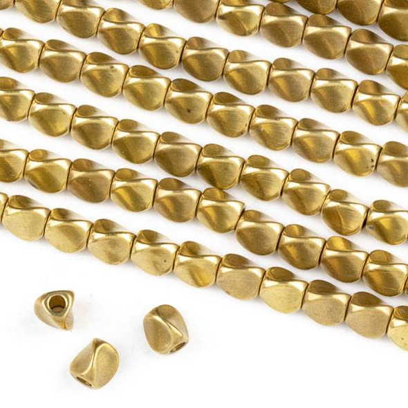 Raw Brass 5mm Twisted 3-Sided Spacer Beads with approximately 1.5mm Hole - approx. 8 inch strand