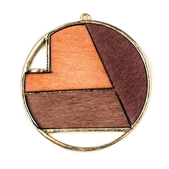 Mosaic Aspen Wood & Gold Colored Pewter 48x52mm Large Coin Geometric Pendant - 1 per bag