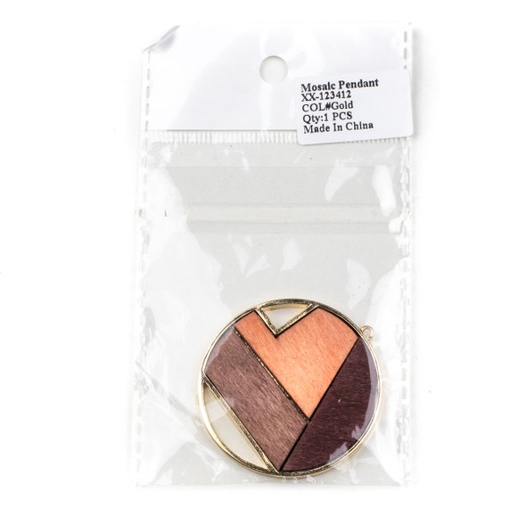 Mosaic Aspen Wood & Gold Colored Pewter 34x37mm Coin Geometric Pendant - 1 per bag